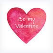 Vector watercolor heart, Valentine day card