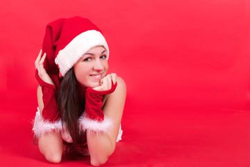 young beautiful santa claus