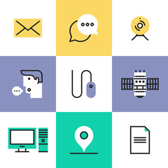 Communication technology pictogram icons set
