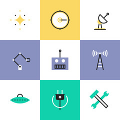Robotics and science pictogram icons set