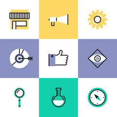 Digital marketing pictogram icons set