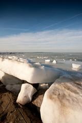 icy lake Balaton in winter