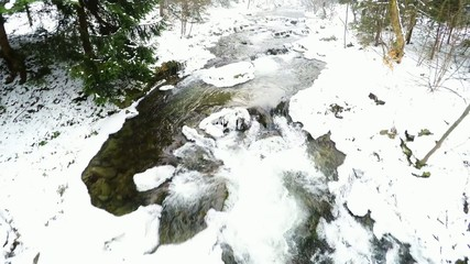 Winter whitewater river aerial shot
