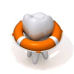 Life Buoy and tooth 3d illustration