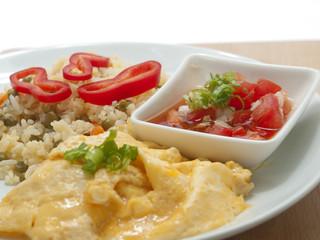fried rice, scrambled eggs, fresh tomatoes & onions