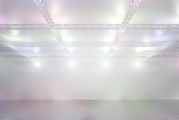 Halle mit bunten Lichern sehr hell