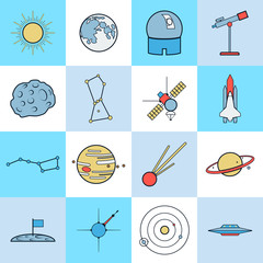 Astronomy and space flat vector icons