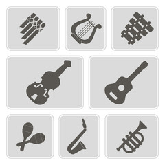 set of monochrome icons with musical instruments for your design
