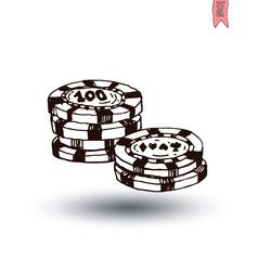 Casino Chips, hand drawn vector illustration.