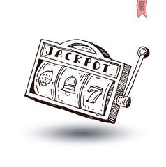 slot machine, hand drawn vector illustration.