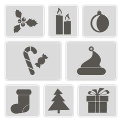 set of monochrome icons with  symbols of Christmas