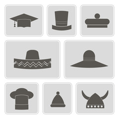 set of monochrome icons with different hats
