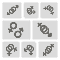 set of monochrome icons with symbols of gender