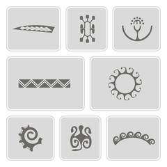set of monochrome icons with Polynesian tattoo symbols