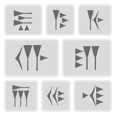 set of monochrome icons with cuneiform for your design