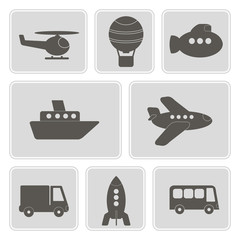 set of monochrome icons with different types of transport