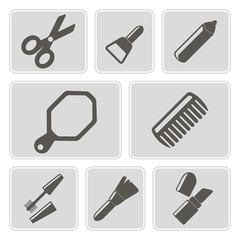 set of monochrome icons with female stuff for your design
