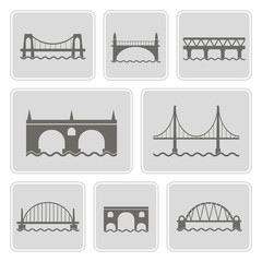 set of monochrome icons with different bridges for your design