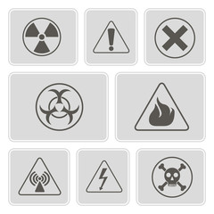 set of monochrome icons with warning signs for your design