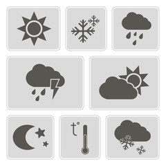 set of monochrome weather icons for your design