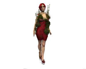 mujer vestido y flores