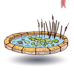 garden lake, vector illustration.