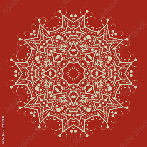 Vector mandala on red. Art vintage decorative