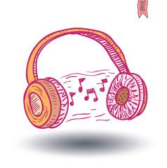 Headphone and beats, hand drawn illustration.