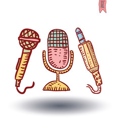 Retro microphone , hand drawn illustration.