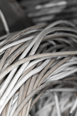 old wire as a backdrop. close-up