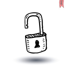 lock icon, Hand-drawn vector illustration.