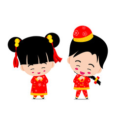 Chinese boy and girl for new year design and decoration on the w