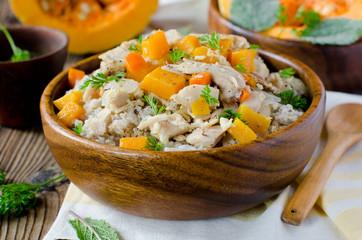 Wheat porridge with chicken and pumpkin