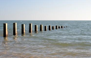 Pieux carrés en mer