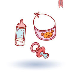 baby dummy and toy, vector illustration