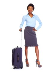 African business woman with suitcase