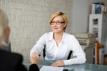 Businesswoman handshake with costumer