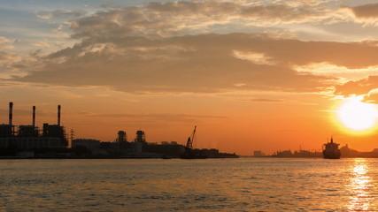 Time lapse shot of cargo ship at sunset, Bangkok thailand