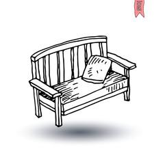 garden chair isolated,  vector illustration.