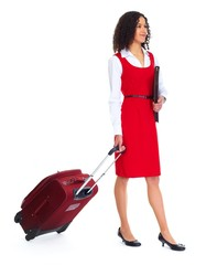 Young business woman with suitcase