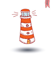 Lighthouse icon, hand drawn illustration.