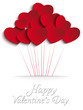 Valentines Day Heart Balloons on Red Background