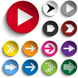 Set of Arrows on Colorful Buttons poster