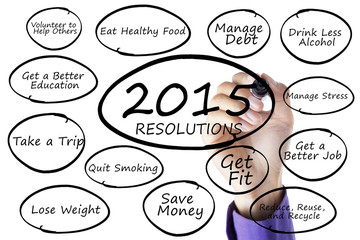 Person writes resolutions list of 2015