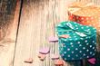 Valentine's retro setting with presents
