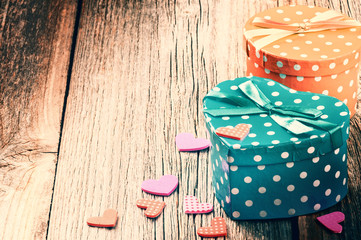 Valentine's retro setting with presents