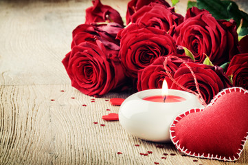 St Valentine's setting with bouquet of red roses