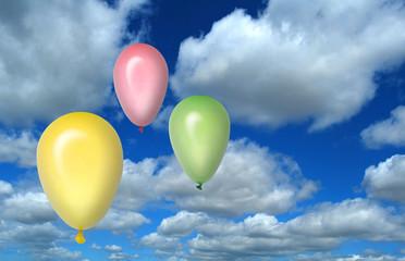 Globos, amarillo, verde, rosa, cielo, nubes