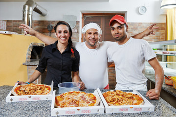 chief, pizza cook and waitress