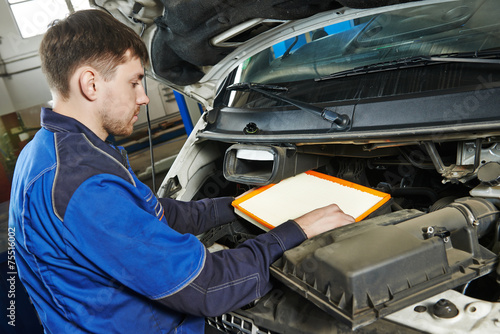 canvas print picture car maintenance - air filter replacing
